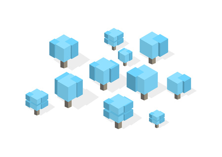 Creative square cubic trees. Isometric vector illustration of different types of wood for game design. Vector graphics. Banco de Imagens - 124729434