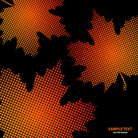 Bright maple leaves from small halftone circles on a black background. Template for banner and advertising, flyer, business card. Vector illustration for your design. Ilustrace
