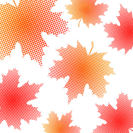 Bright maple leaves from small halftone circles on a white background. Template for banner and advertising, flyer, business card. Vector illustration for your design. Ilustrace
