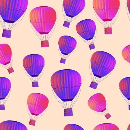 Modèle sans couture de gros ballon sur fond de ciel. Revêtement pour tissu, papier. Illustration vectorielle Vecteurs