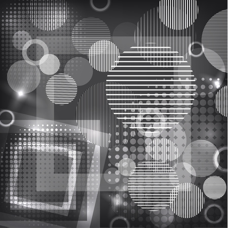 Bright abstract texture with circles and stripes, squares. Vector illustration of surface design for print and the web. Vetores