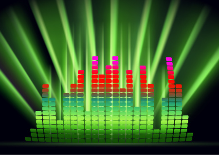 Abstract form of sound wave, digital equalizer, sound impulses of musical rhythm. Bright background for your design. Vector illustration