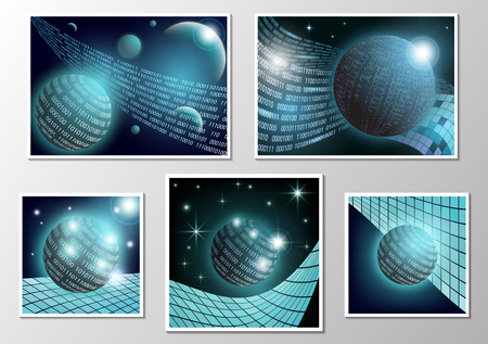 A set of pictures. Modern abstract communication technology concept, circle of digital schemes and innovations, high-tech future, visual concept of a data set. Global network background design. Vector illustration