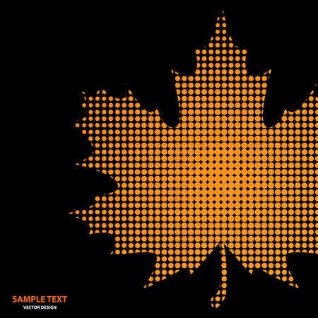 Bright maple leaf from small halftone circles on a black background. Template for banner and advertising, flyer, business card. Vector illustration for your design. Ilustrace