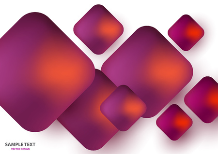Modern trendy background of colored squares in the form of volumetric convex shapes. Bright colorful, glowing colors on a white background. Design of abstract textiles, wallpaper, flyer, business cards, web design.