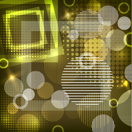 Bright abstract texture with circles and stripes, squares. Vector illustration of surface design for print and the web.