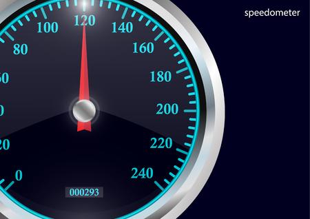 Compteur de vitesse. Calibre rond noir avec cadre chromé. Indicateurs de vitesse au néon lumineux. Illustration 3d vectorielle pour votre conception.