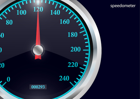Speedometer. Round black caliber with chrome frame. Bright neon speed indicators. Vector 3d illustration for your design. Illustration