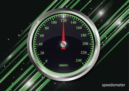 Speedometer on color abstract geometric background of the lines. Round black caliber with chrome frame. Bright neon speed indicators. Vector 3d illustration for your design. Çizim