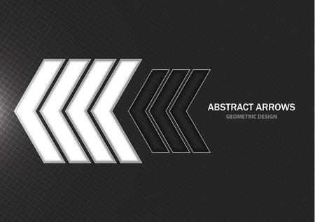 Abstract dark background, creative geometric white and black arrows. Vector illustration for your design. Çizim