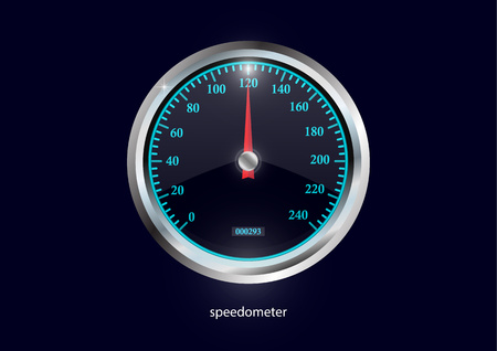 Speedometer. Round black caliber with chrome frame. Bright neon speed indicators. Vector 3d illustration for your design. Çizim