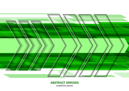 Abstract green and white background, creative geometric arrows with inner shadow. Vector illustration for your design.