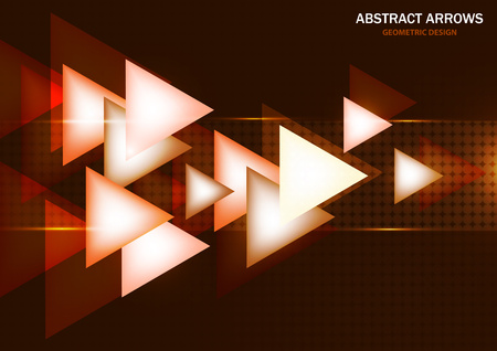 Abstract background of glowing arrows on a dark background, modern geometric design. The concept of technology and dynamic movement. Vector illustration Ilustração