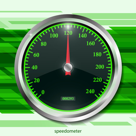Speedometer on color abstract geometric background. Round black caliber with chrome frame. Bright neon speed indicators. Vector 3d illustration for your design. Çizim