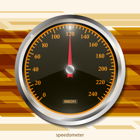 Speedometer on color abstract geometric background. Round black caliber with chrome frame. Bright neon speed indicators. Vector 3d illustration for your design. Illustration
