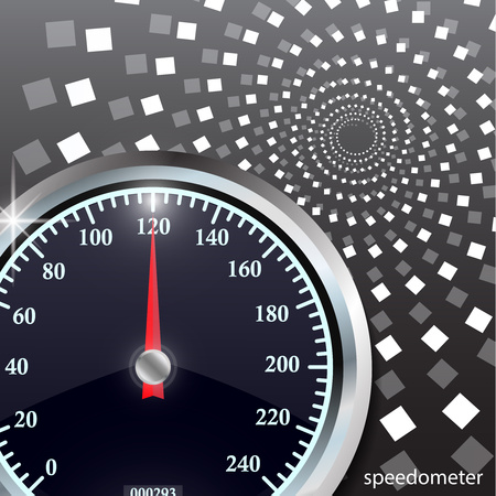 Speedometer on abstract geometric background. Round black caliber with chrome frame. Vector 3d illustration for your design.