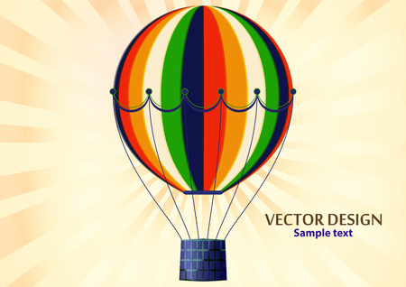 Bright colorful balloon. Vector illustration of a large object for traveling by air and watching the picturesque scenery with a basket for people. Air vehicles Иллюстрация