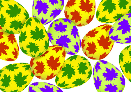 Bright colored Easter eggs on a white background. Spring holiday. Vector illustration for your design.