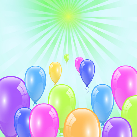 Festive banner with colorful balloons. Group of bright glossy isolated helium balloons. Vector illustration EPS10 for your design.
