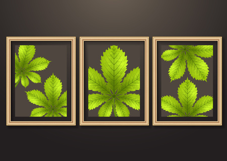 Set of hanging decorative frames for photos and images with shadow effects. Bright creative leaves of chestnut. Dark background. Design template for layout.