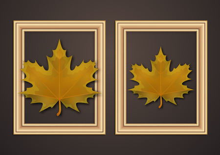 Set of hanging decorative frames for photos and images with shadow effects. Bright creative maple leaves. Dark background. Design template for layout.