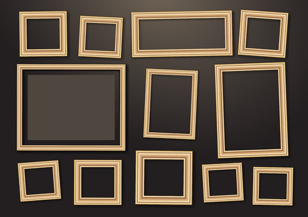 Set of empty hanging decorative photo frames with shadow effects. Different sizes. Dark background. Design template for layout. Vector illustration Ilustrace