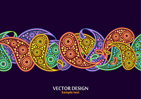 Vertical paisley pattern. Packing print. Floral ornament, for fabric, textile, cards, wrapping paper, wallpaper pattern. Ornamental border. Decorative motif. Vector illustration Illustration
