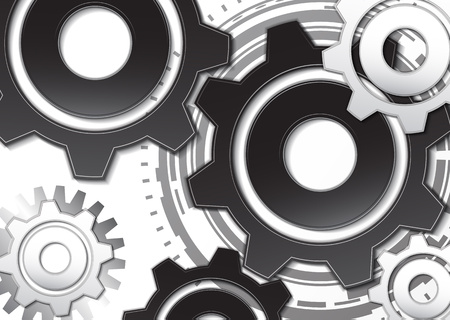 Vector illustration of gear wheel-gear on a white background. Mechanical engineering technology symbol. Industry development, engine operation, business solution concept. Vector illustration.