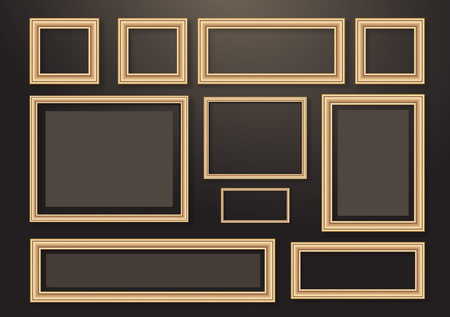 Set of empty hanging decorative photo frames with shadow effects. Different sizes. Dark background. Design template for layout. Vector illustration Stock Illustratie