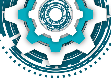 Vector illustration of gear wheels on white background. Abstract techno background: bright rotating gear. Mechanical engineering technology symbol. Industry development, engine operation, business solution concept