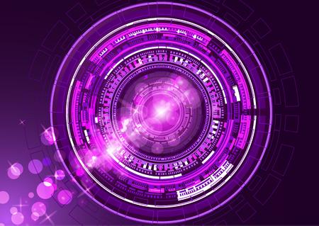 Fondo astratto luminoso di tecnologia. Fondo dell'innovazione di concetto di comunicazione ad alta tecnologia. Cerchio e spazio vuoto per il tuo testo. Illustrazione vettoriale per il tuo design.