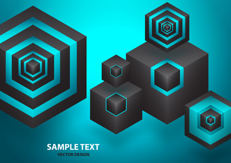 Abstract background isometric shape of hexagons and cubes. Design element for business / web design / print / presentation. Vector illustration