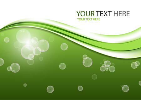 Abstract background with waves of water and floating bubbles. - Vector graphics