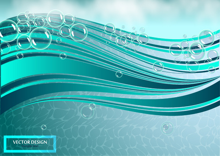 Many bubbles in clear bright water. Abstract wave, underwater background, fluffy clouds. Vector illustration for your flyer design, banner. 向量圖像