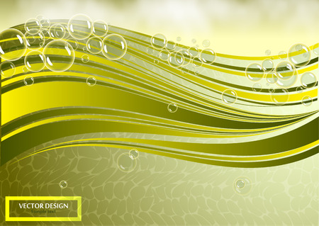 Many bubbles in clear bright water. Abstract wave, underwater background, fluffy clouds. Vector illustration for your flyer design, banner. Ilustração