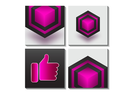 A set of icons of hexagons and cubes and an icon of a good creative idea. Design elements for business / web design / print / presentation. Vector illustration Иллюстрация