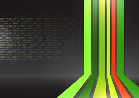 Multicolor vertical stripes perspective background. Database, numeric code in the background. Vector illustration for your design.
