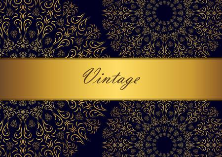 Golden mandala design on black background. Decorative floral template for greeting card, invitation or banner. Vector illustration