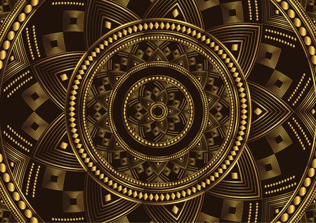 Golden mandala design on black background. Decorative floral template for greeting card, invitation or banner. Vector illustration 写真素材 - 122786996