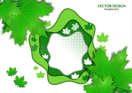 Abstract background on a summer theme. Maple leaves. Vector illustration Ilustracje wektorowe