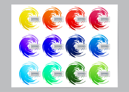Collection of bright colored brush strokes on a white background. Design element for the company corporate identity template, banner, flyer, business card. Vector illustration Illustration