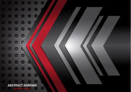Abstract arrows on metal circle grid texture background of modern luxury futuristic creative. Techno Arrow Background, Vector Pattern Design Ilustração