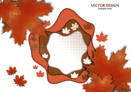 Abstract background on the theme of autumn. Maple leaves. Vector illustration Ilustracja
