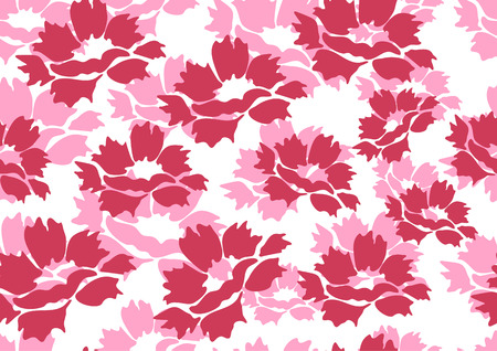 Decorative seamless floral background with simple peony flowers on a white background. Romantic design for natural cosmetics, perfumes, women's goods, salons, spa. Textile design fabric. Vector illustration Illusztráció