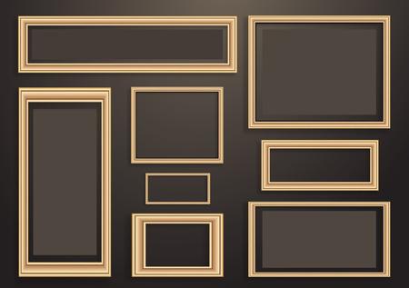 Sammlung von vektorleeren Holzrahmen für Gemälde oder Fotografien an der Wand. Unterschiedliches Design. Vektor-Illustration