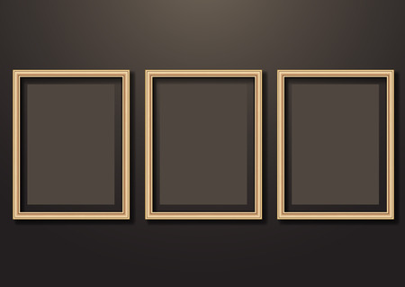 Collection of vector empty wooden frames for paintings or photographs on the wall. Different design. Vector illustration