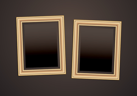 Collection of vector empty wooden frames for paintings or photographs on the wall. Different design. Vector illustration Vecteurs