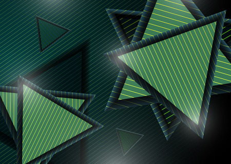 Abstract modern geometric composition with decorative triangles. Striped triangles and striped dark background. Vector illustration
