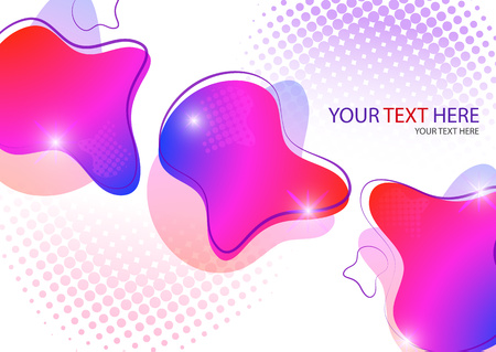 Bright colored abstract dynamic fluid forms, halftone patterns, liquid color on a white background. Screensaver shape design. Vector illustration