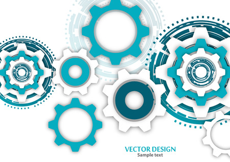 Technological colorful background with cogwheel, gears, cover template. Illustration of abstract design with copy space. Vector illustration Ilustração